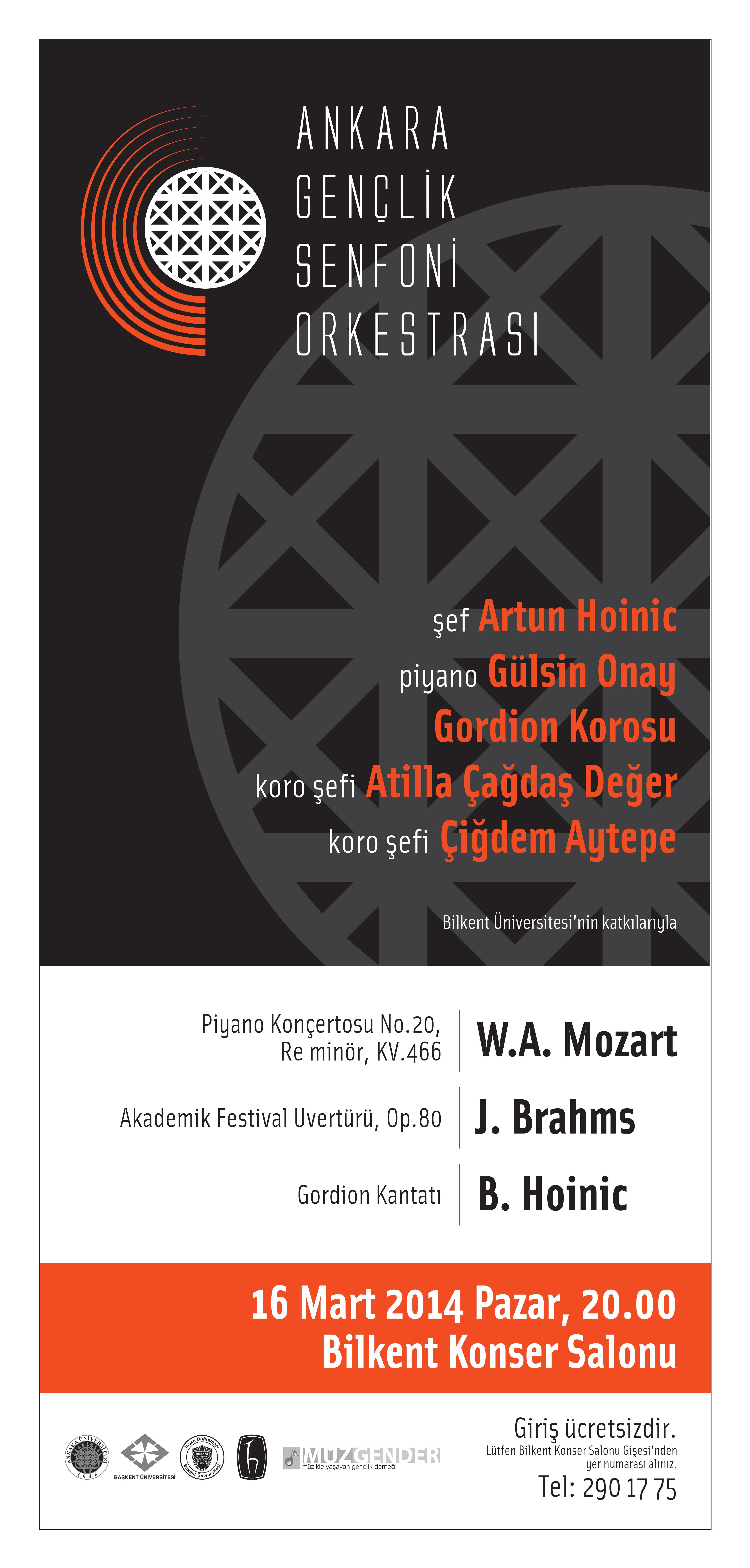 1Ankara Gençlik Senfoni Orkestrası 16 Mart 2014 Konseri Poster
